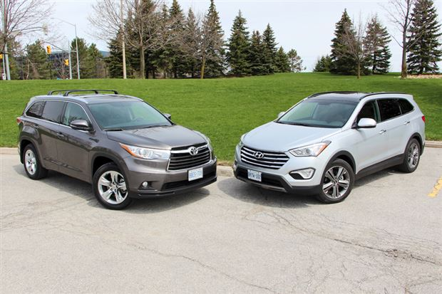 Read about the Autos.ca Comparison Test: 2014 Hyundai Santa Fe XL Limited vs 2014 Toyota Highlander Limited