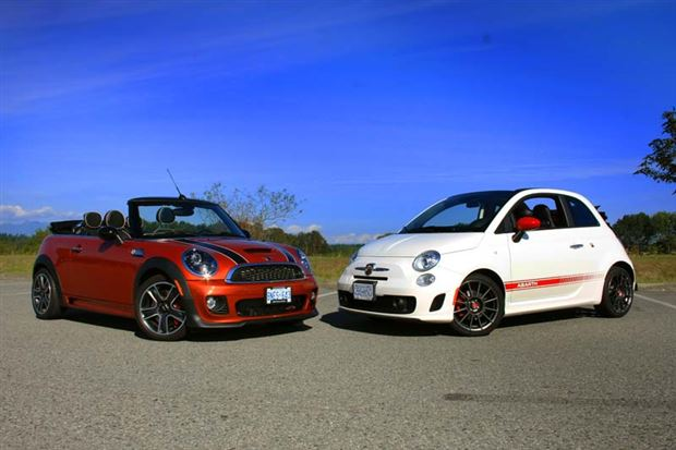 pop quiz fiat 500 abarth cabrio or mini jcw convertible. Black Bedroom Furniture Sets. Home Design Ideas